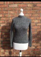 Uniqlo Grey Black Wool Mix Long Sleeved Roll Neck Jumper Size Xs B32