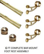 """6 FT. 2"""" OD Brass Foot Rail Kit- Bar Mount Style- Foot Rest - Home Pub Rail"""