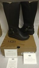 UGG Australia Rosen Tall Stout Espresso Leather Boots Size US 7 UK 5.5 NIB NEW