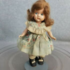 """8"""" vintage strung hard plastic Vogue Ginny Doll with painted eyes & tagged dress"""