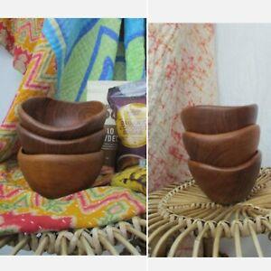 Boho Retro Teak Wooden Natural Breakfast Smoothie Bowls Set of 3 Bali Thailand