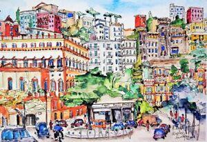 NAPLES PIAZZA AMEDEO. Chiaia district Napoli. Italy Watercolor Print. Naples Art