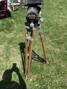 Vintage O'Connor Model 50 Fluid Head And Vintage Wood Tripod