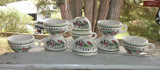 Syracuse China Restaurant Ware Art Nouveau Pink Green Flower Coffee Cups