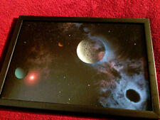 Original reverse glass painting. Outer space abstract