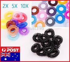 2pcs-10pcs Elastic Plastic Hair Ties Spiral Bungee Ropes Women Girls Ponytail AU