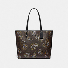 NWT COACH F78282 Reversible City Tote Bag With Metallic Tulip Print