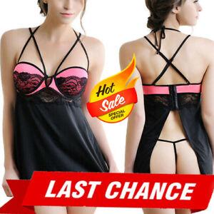 Pink/Black Floral Lace Mesh Bra Underwire Lingerie Babydoll Mini Dress M-7XL US