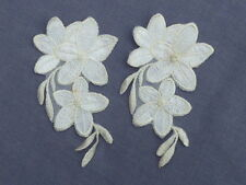 2 BEAUTIFUL APPLIQUE FLOWERS IVORY & WHITE