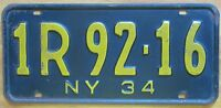 New York 1934 License Plate NICE QUALITY # 1R 92-16