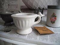 Teelicht Kammerleuchter Keramik Weiß shabby chic Kerzenhalter Landhaus 0100