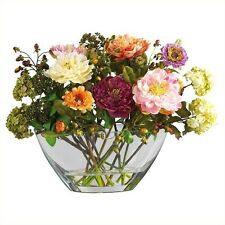 Nearly Natural Peony with Glass Vase Silk Flower Arrangement