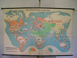 Schulwandkarte Wall Map World Christian Moslems Religions of The Earth 234x157