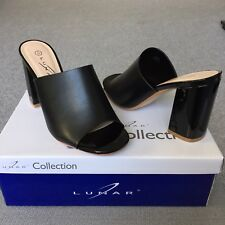 BNIB Ladies BLACK Lunar ARIANA High Block Heel Slip On Smart Mules Shoes UK 3 36
