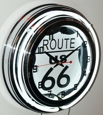 "ROUTE 66 15"" Double Neon Wall Clock  # MCG-0012-S"