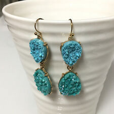 Gold Filled Turquoise Double Teardrops Druzy Dangle Bohemian Earrings