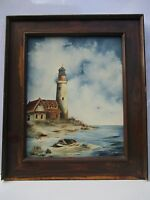 "16' x 20"" Lighthouse/Oceanside Oil on Canvas framed painting-signed by artist!"