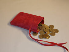 Medieval Larp SCA Pagan Reenactment Red Leather DRAWSTRING MONEY POUCH BAG