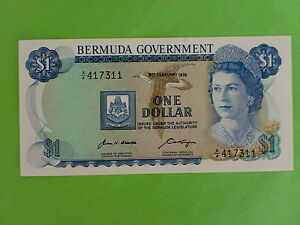 Bermuda $1 6th February 1970 Queen Elizabeth (UNC) A/4 417311