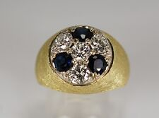 Mens Diamond Sapphire 14K Yellow Gold Ring 2.6cttw 15.0 Grams Sz 9 ¼