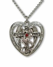 Gothic Dragon Surrounding Cross in Heart Pendant Necklace NK-458