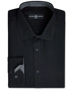 Society of Threads Men's Black Slim-Fit N-Iron Dress Shirt 14-14.5, 32/33 Small