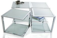 Table d'appoint basse élement CHROME/givré verre design CUBE NEUF