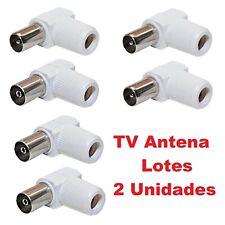 Conector Macho Hembra TV Ø 9,5 mm Acodado Blindado Blanco - Conexiones De Antena