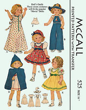Vintage Shirley Temple 16 inch doll clothes sewing pattern - 1937