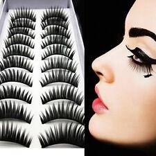 10 pairs Long Cross False Eyelashes Makeup Natural Fake Thick Eye Lashes Set