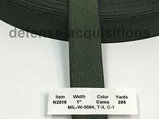 Military Elastic Webbing 1 INCH MIL-W-5664 T2 C1 CAMO GREEN MilSpec - Per Yard