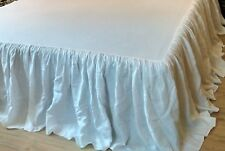 "Bed Skirt /14""-24"" drop/Washed/100% Flax/King,Queen,Full/Natural Gray Brown Rose"