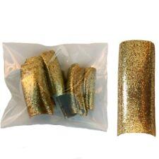 20 Faux ongles tips capsules dorés - paillettes - chatoyant - scintillant