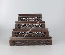 display stand new pedestal China brown Ji-zhi wood carved 1 set rectangle base