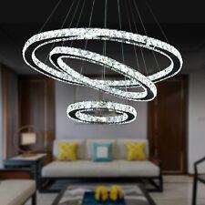 US Modern Crystal Chandelier LED Ceiling Pendant Light 3 Rings Stainl Steel Lamp