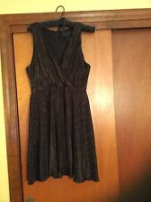 Kardashian Kollection Size Large Dress Black AllOver Pleated Metallic Design NEW