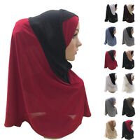 One Piece Amira Hijab Muslim Women Prayer Scarf Islamic Head Wrap Covers Shawl