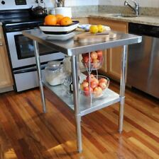 Kitchen Utility Table, 49 in. Stainless Steel Storage Table W/ Adjustable Shelf