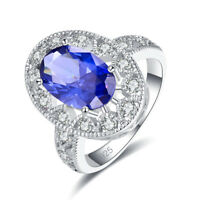 Fashion Oval Cut Tanzanite & White Topaz Gemstone Silver Ring Size 6 7 8 9 Gifts