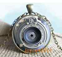 Vintage Camera lens Cabochon Bronze Glass Chain Pendant Necklace #462