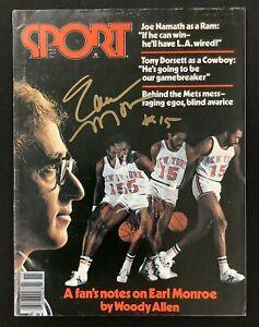 Earl Monroe Signed Sport Magazine November 1977 No Label NY Knicks Auto HOF JSA