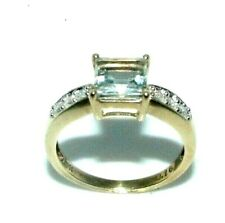 Ladies womens 9ct 9carat yellow gold diamond & clear stone ring UK size M 1/2