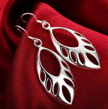 Womens 925 Sterling Silver Polished Hollow Leaf Long Drop Dangle Earrings #E222