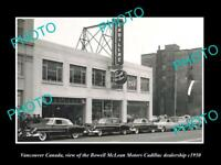 OLD POSTCARD SIZE PHOTO OF VANCOUVER CANADA THE CADILLAC DEALERS STORE c1950
