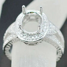 7x9mm Oval Cut 14kt White Gold Natural Diamond Semi Mount Ring