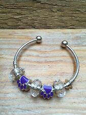 Silver Charm Style Bar Bracelet/Part 925/Chunky Clear Resin & Metal Paw Prints