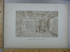 Rare Antique Original VTG 1878 Room In The Seidenhof Zurich Engraving Art Print
