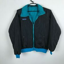 Vintage 1980s Columbia Sportswear Jacket Size L Black Teal Blue Reversible Mens