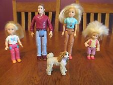 Lot Of Five Mattel Loving Family Dollhouse Dolls ~ Mom Dad Two Daughters Dog