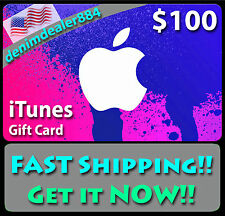 APPLE $100 US iTUNES GIFT CARD voucher certificate FAST FREE worldwide shipping